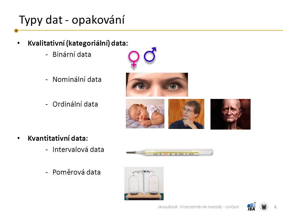 Typy dat - opakování Kvalitativní (kategoriální) data: ‐Binární data ‐Nominální data ‐Ordinální data Kvantitativní data: ‐Intervalová data ‐Poměrová data 4 Janoušová: Vícerozměrné metody - cvičení