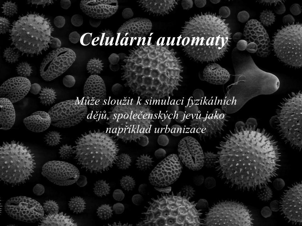 Celulární automaty Může sloužit k simulaci fyzikálních dějů, společenských jevů jako například urbanizace