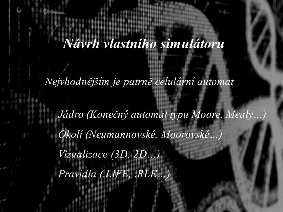 Návrh vlastního simulátoru Nejvhodnějším je patrně celulární automat Jádro (Konečný automat typu Moore, Mealy…) Okolí (Neumannovské, Moorovské…) Vizualizace (3D, 2D…) Pravidla (.LIFE,.RLE…)