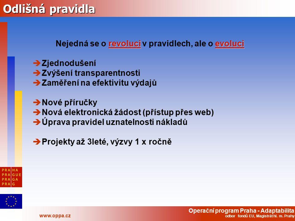 Operační program Praha - Adaptabilita www.oppa.cz odbor fondů EU, Magistrát hl. m. Prahy Odlišná pravidla revolucievoluci Nejedná se o revoluci v prav
