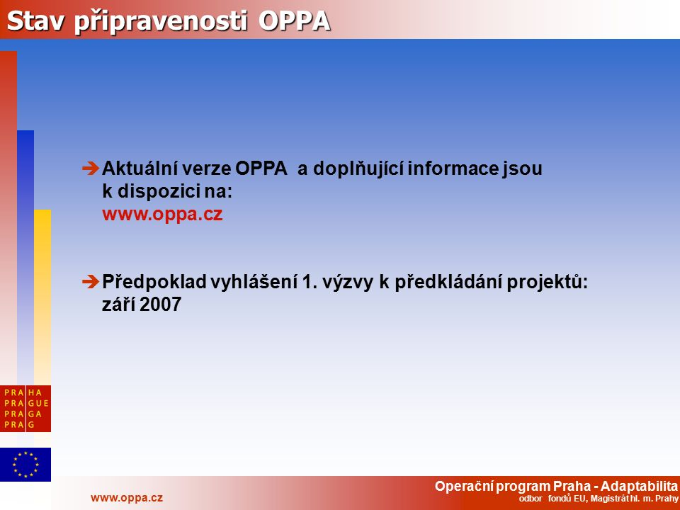 Operační program Praha - Adaptabilita www.oppa.cz odbor fondů EU, Magistrát hl. m. Prahy Stav připravenosti OPPA  Aktuální verze OPPA a doplňující in