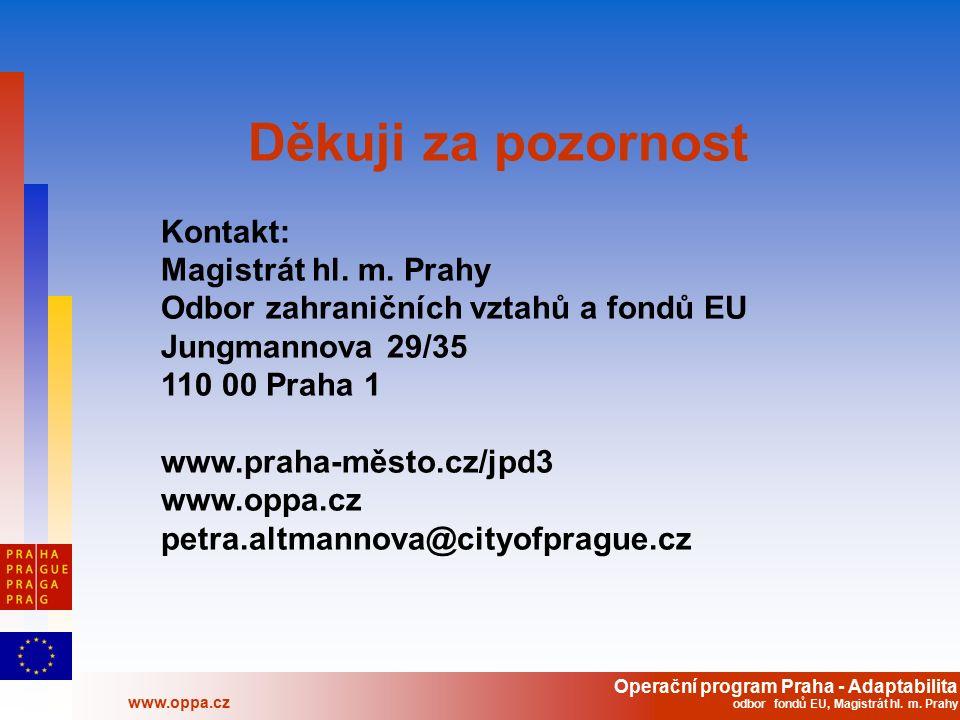 Operační program Praha - Adaptabilita www.oppa.cz odbor fondů EU, Magistrát hl. m. Prahy Děkuji za pozornost Kontakt: Magistrát hl. m. Prahy Odbor zah