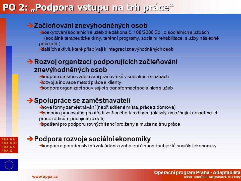"""Operační program Praha - Adaptabilita www.oppa.cz odbor fondů EU, Magistrát hl. m. Prahy PO 2: """"Podpora vstupu na trh práce""""  Začleňování znevýhodněn"""