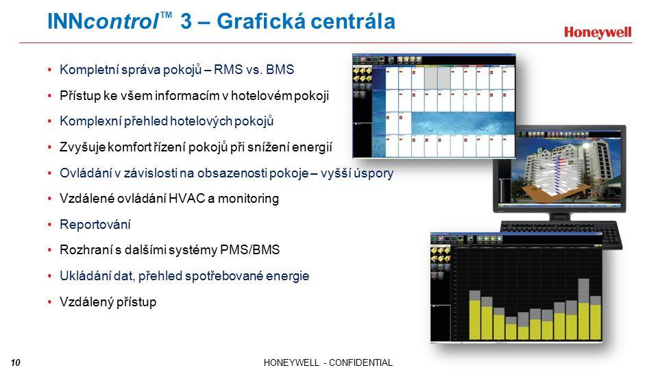 10HONEYWELL - CONFIDENTIAL INNcontrol ™ 3 – Grafická centrála Kompletní správa pokojů – RMS vs. BMS Přístup ke všem informacím v hotelovém pokoji Komp