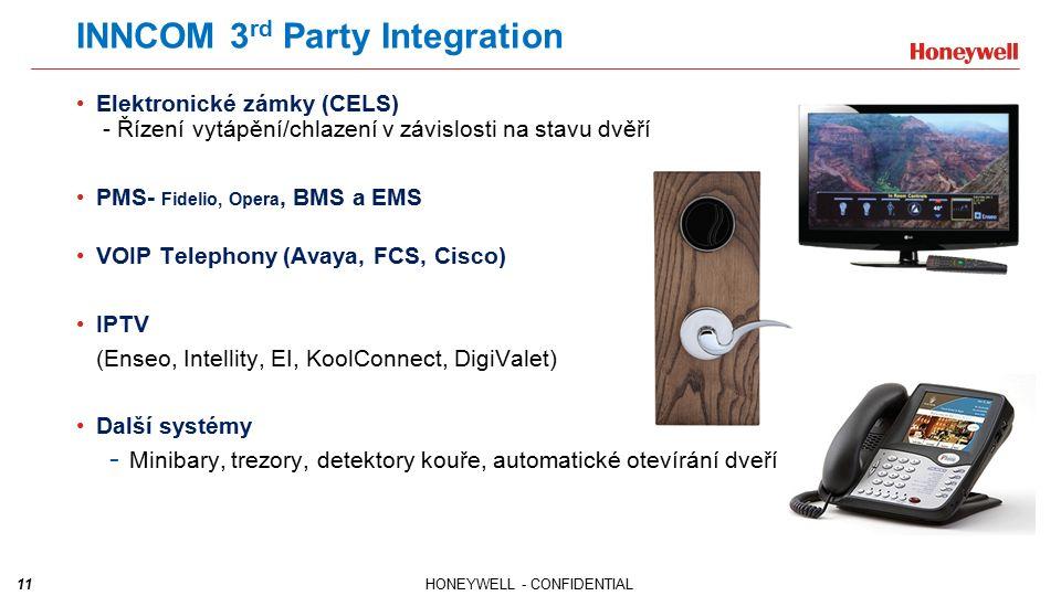 11HONEYWELL - CONFIDENTIAL INNCOM 3 rd Party Integration Elektronické zámky (CELS) - Řízení vytápění/chlazení v závislosti na stavu dvěří PMS- Fidelio, Opera, BMS a EMS VOIP Telephony (Avaya, FCS, Cisco) IPTV (Enseo, Intellity, EI, KoolConnect, DigiValet) Další systémy - Minibary, trezory, detektory kouře, automatické otevírání dveří apod.