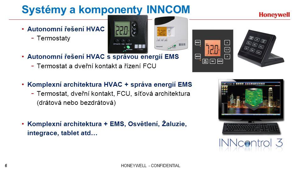7HONEYWELL - CONFIDENTIAL Produkty - EMS Termostaty - Drátové nebo bezdrátové - Reléové moduly pro různé zátěže - Různé komunikační platformy (IR/RF) - Modulární provedení Speciální řešení - Ovládání pro následující jednotky: - Otevřeno/ Zavřeno/ Modulační - PTAC, PTHP, FCU Automatizované řízení osvětlení - Integrované a řízení dle obsazenosti - Různá provedení