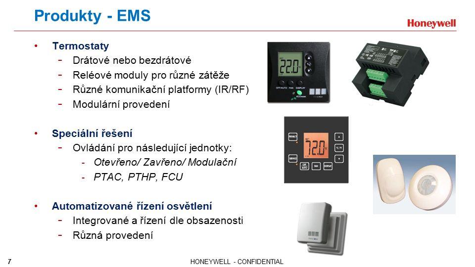 7HONEYWELL - CONFIDENTIAL Produkty - EMS Termostaty - Drátové nebo bezdrátové - Reléové moduly pro různé zátěže - Různé komunikační platformy (IR/RF)