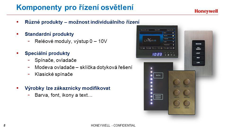 8HONEYWELL - CONFIDENTIAL Komponenty pro řízení osvětlení  Různé produkty – možnost individuálního řízení  Standardní produkty - Reléové moduly, výs