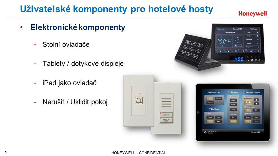9HONEYWELL - CONFIDENTIAL Uživatelské komponenty pro hotelové hosty Elektronické komponenty - Stolní ovladače - Tablety / dotykové displeje - iPad jako ovladač - Nerušit / Uklidit pokoj