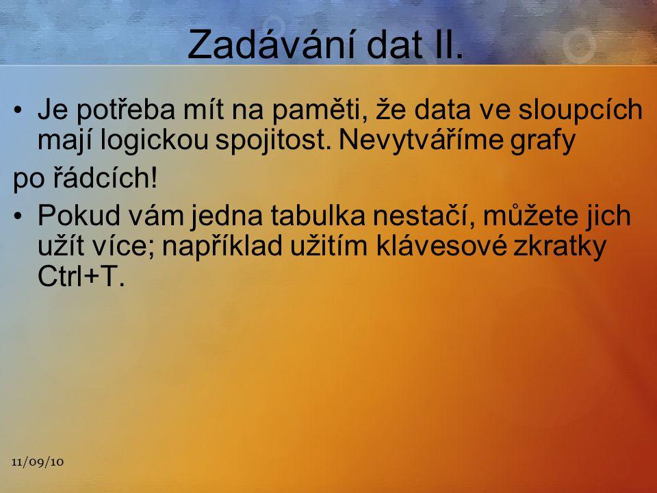 11/09/10 Zadávání dat II. Je potřeba mít na paměti, že data ve sloupcích mají logickou spojitost.