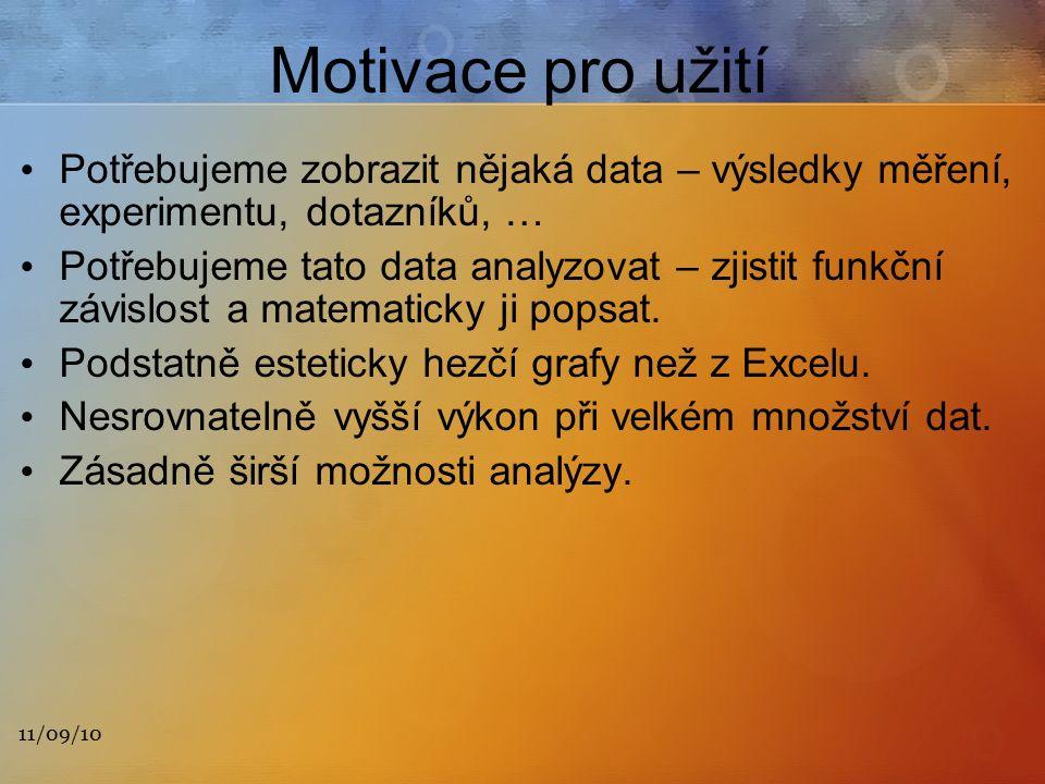 11/09/10 Motivace pro užití Potřebujeme zobrazit nějaká data – výsledky měření, experimentu, dotazníků, … Potřebujeme tato data analyzovat – zjistit funkční závislost a matematicky ji popsat.