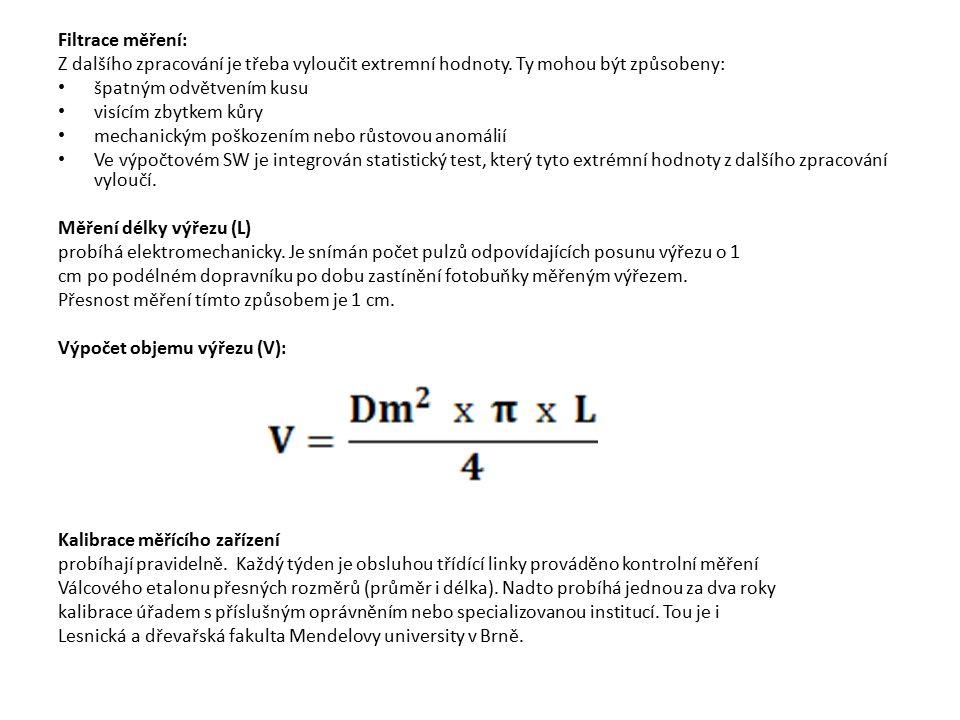 Filtrace měření: Z dalšího zpracování je třeba vyloučit extremní hodnoty. Ty mohou být způsobeny: špatným odvětvením kusu visícím zbytkem kůry mechani