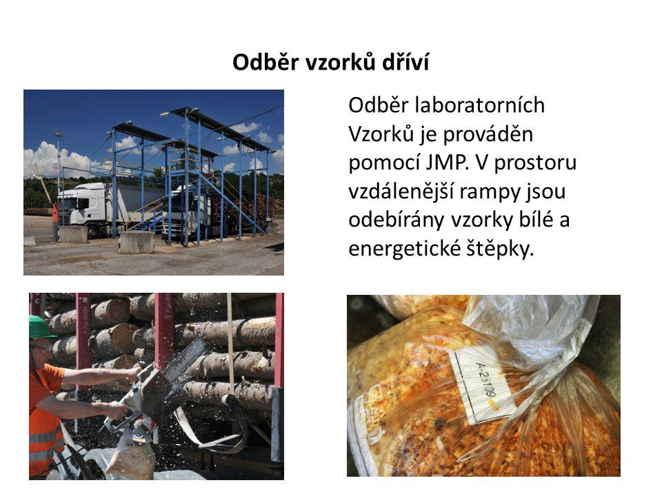 Odběr vzorků dříví Odběr laboratorních Vzorků je prováděn pomocí JMP. V prostoru vzdálenější rampy jsou odebírány vzorky bílé a energetické štěpky.