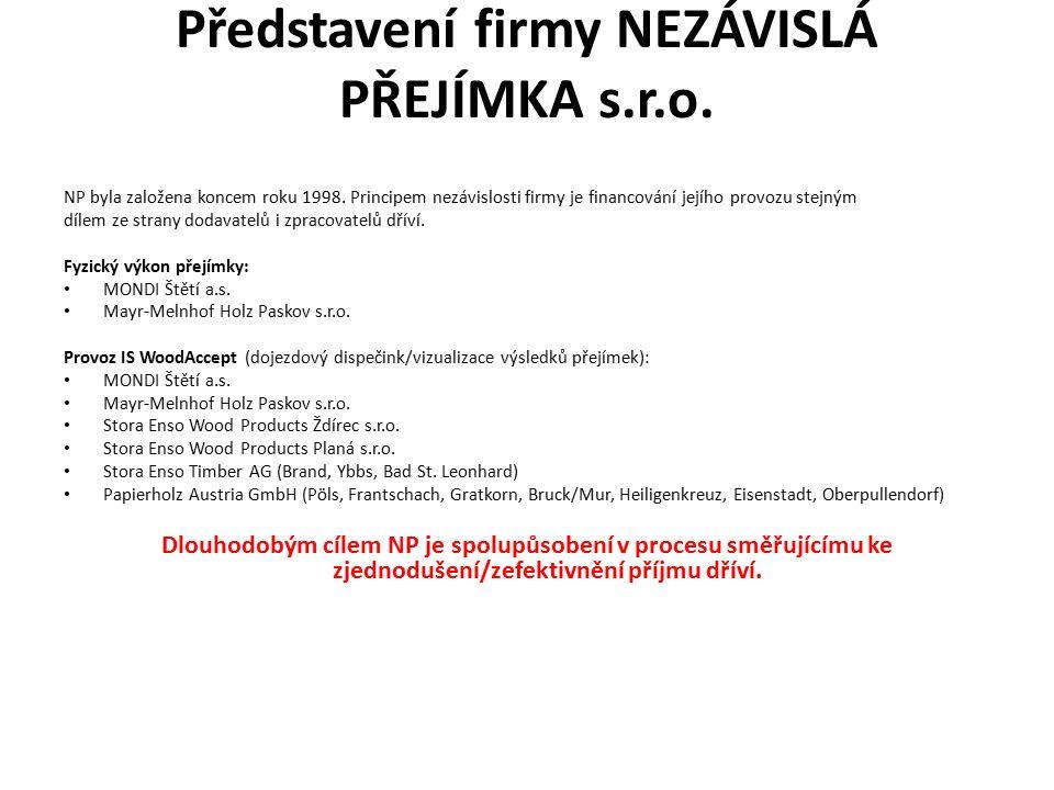 Představení firmy NEZÁVISLÁ PŘEJÍMKA s.r.o. NP byla založena koncem roku 1998. Principem nezávislosti firmy je financování jejího provozu stejným díle