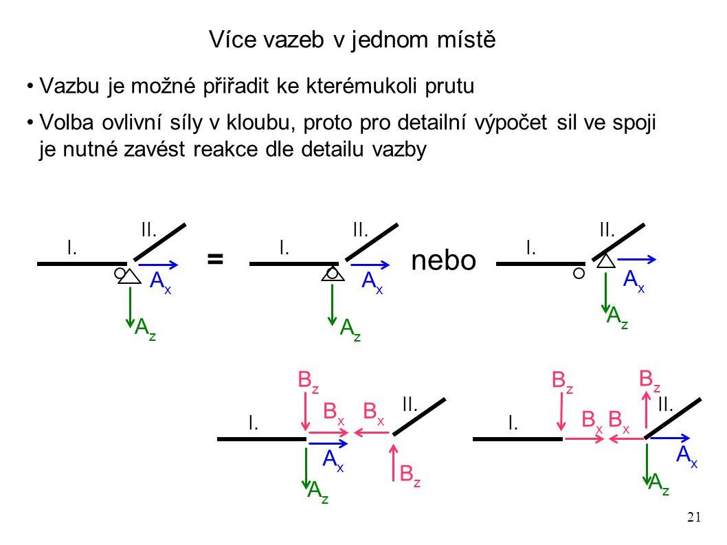 21 Více vazeb v jednom místě Vazbu je možné přiřadit ke kterémukoli prutu Volba ovlivní síly v kloubu, proto pro detailní výpočet sil ve spoji je nutn