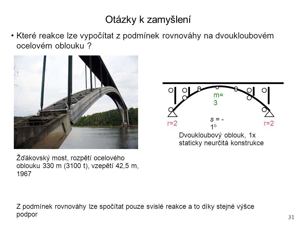31 Otázky k zamyšlení Které reakce lze vypočítat z podmínek rovnováhy na dvoukloubovém ocelovém oblouku ? Žďákovský most, rozpětí ocelového oblouku 33