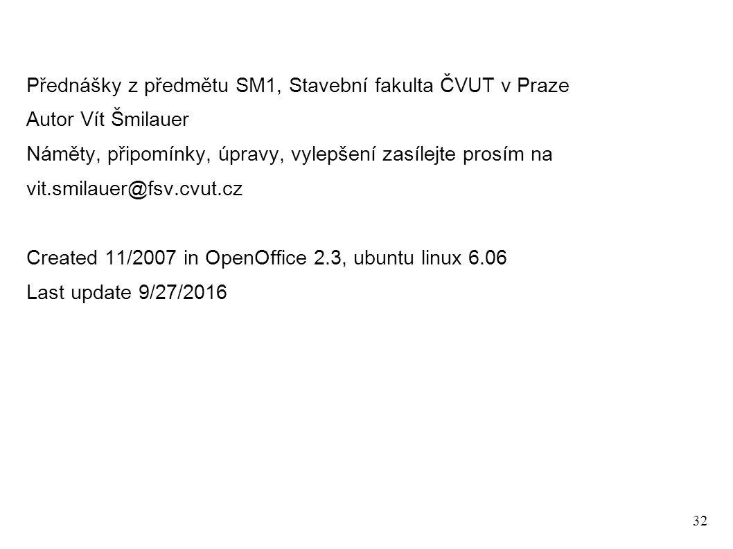 32 Přednášky z předmětu SM1, Stavební fakulta ČVUT v Praze Autor Vít Šmilauer Náměty, připomínky, úpravy, vylepšení zasílejte prosím na vit.smilauer@fsv.cvut.cz Created 11/2007 in OpenOffice 2.3, ubuntu linux 6.06 Last update 9/27/2016