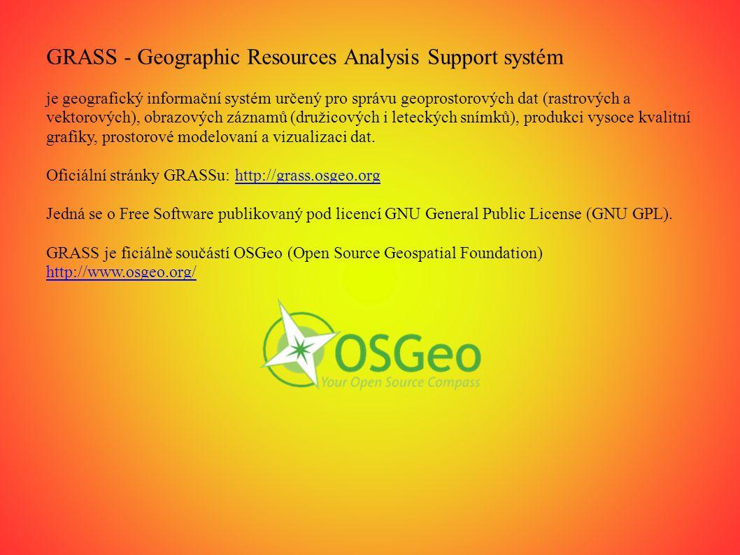 Základní okna GRASS 2 základní okna: -GIS Manager -Mapové okno Další okna: -každý ze spuštěných modulů se otevírá ve vlastním oknu