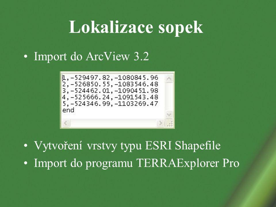 Lokalizace sopek Import do ArcView 3.2 Vytvoření vrstvy typu ESRI Shapefile Import do programu TERRAExplorer Pro