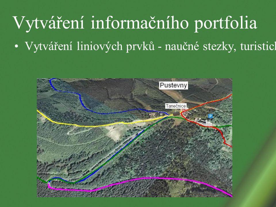 Vytváření informačního portfolia Vytváření liniových prvků - naučné stezky, turistické trasy, cyklostezky, běžkařské trasy