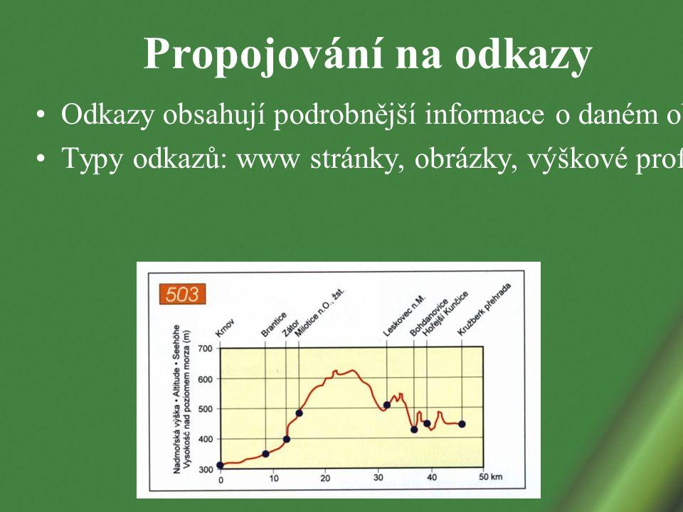 Propojování na odkazy Odkazy obsahují podrobnější informace o daném objektu Typy odkazů: www stránky, obrázky, výškové profily cyklostezek, …