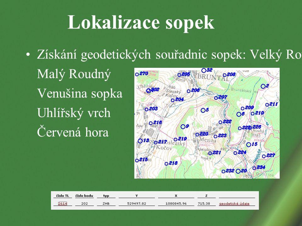 Lokalizace sopek Získání geodetických souřadnic sopek: Velký Roudný Malý Roudný Venušina sopka Uhlířský vrch Červená hora