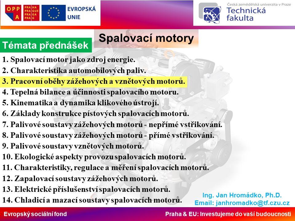 Evropský sociální fond Praha & EU: Investujeme do vaší budoucnosti Spalovací motory Výpočet středního tlaku na píst početně je kde: W it [J] je mechanická práce teoretického oběhu Hledaná práce (plocha) vznikne sloučením dílčích, matematicky vyjádřitelných, prací, podle schématu viz obr.