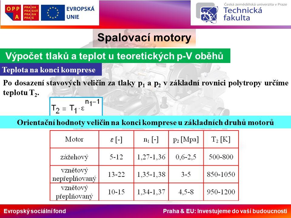 Evropský sociální fond Praha & EU: Investujeme do vaší budoucnosti Spalovací motory Výpočet tlaků a teplot u teoretických p-V oběhů Teplota na konci komprese Po dosazení stavových veličin za tlaky p 1 a p 2 v základní rovnici polytropy určíme teplotu T 2.