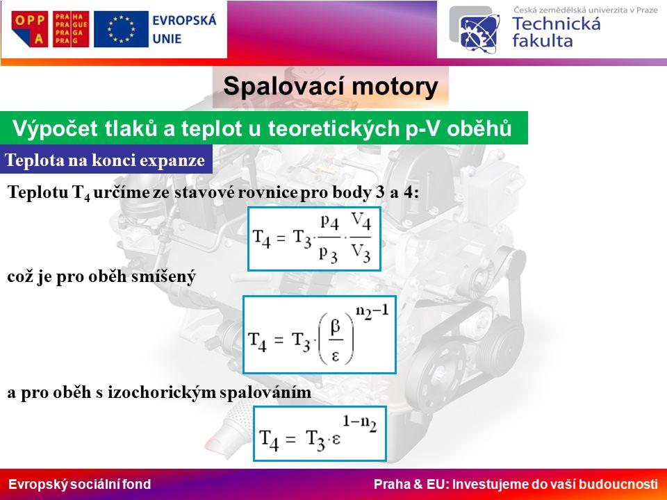 Evropský sociální fond Praha & EU: Investujeme do vaší budoucnosti Spalovací motory Výpočet tlaků a teplot u teoretických p-V oběhů Teplota na konci expanze Teplotu T 4 určíme ze stavové rovnice pro body 3 a 4: což je pro oběh smíšený a pro oběh s izochorickým spalováním