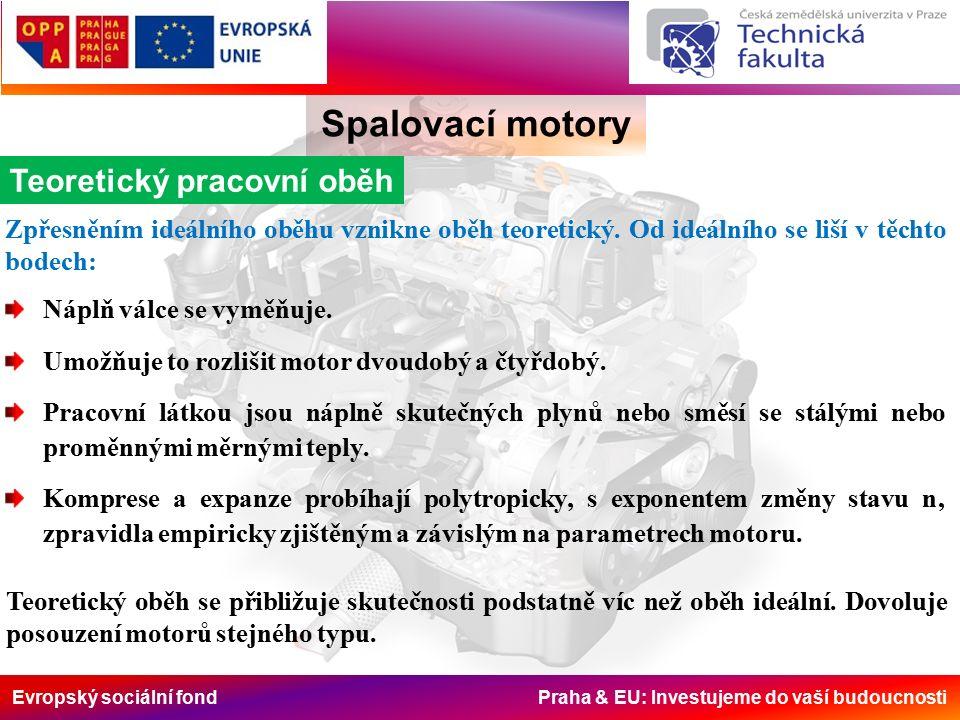 Evropský sociální fond Praha & EU: Investujeme do vaší budoucnosti Spalovací motory Výpočet tlaků a teplot u teoretických p-V oběhů Rozsahy hodnot veličin na konci hoření u základních druhů motorů při jejich maximálních výkonech jsou v následující tabulce