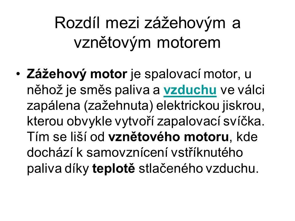 Rozdíl mezi zážehovým a vznětovým motorem Zážehový motor je spalovací motor, u něhož je směs paliva a vzduchu ve válci zapálena (zažehnuta) elektrickou jiskrou, kterou obvykle vytvoří zapalovací svíčka.