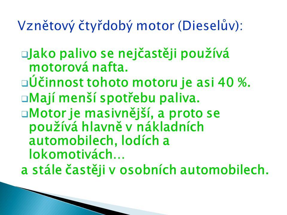  Jako palivo se nejčastěji používá motorová nafta.