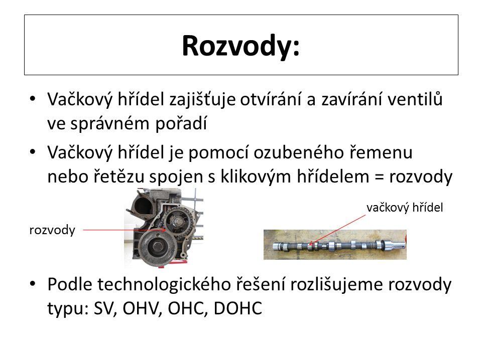 Rozvody: Vačkový hřídel zajišťuje otvírání a zavírání ventilů ve správném pořadí Vačkový hřídel je pomocí ozubeného řemenu nebo řetězu spojen s klikovým hřídelem = rozvody vačkový hřídel rozvody Podle technologického řešení rozlišujeme rozvody typu: SV, OHV, OHC, DOHC
