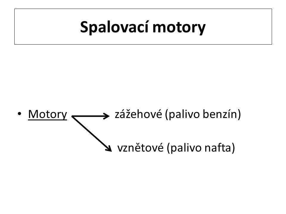 Spalovací motory Motory zážehové (palivo benzín) vznětové (palivo nafta)