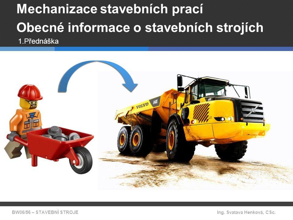 Mechanizace stavebních prací částečně mechanizovaný komplexně mechanizovaný BW06/56 - STAVEBNÍ STROJE Mechanizace = proces náhrady ruční práce strojem Zdroj: www.bosch.cz zdroj: www.cat.com