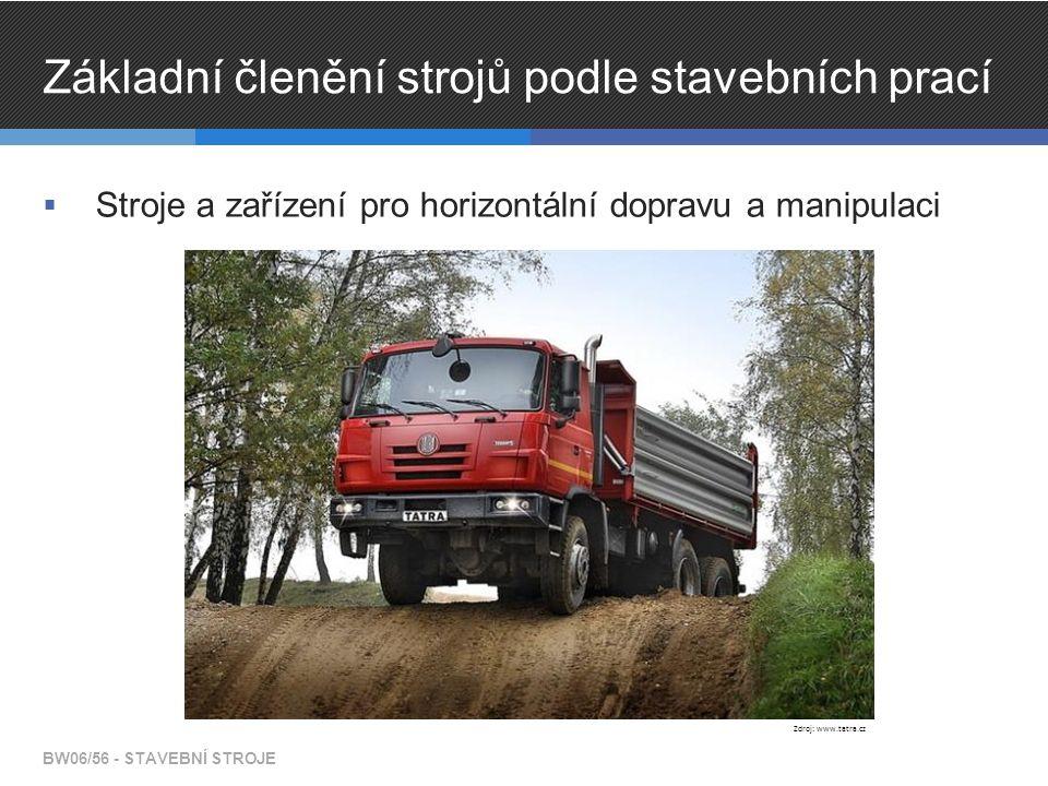 Základní členění strojů podle stavebních prací  Stroje a zařízení pro horizontální dopravu a manipulaci BW06/56 - STAVEBNÍ STROJE Zdroj: www.tatra.cz