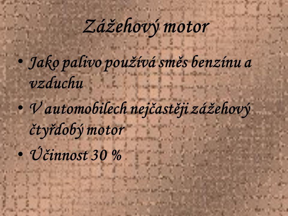 Zážehový motor Svíčka Sací ventil Výfukový ventil Válec Píst Ojnice Pístní čet Klikový hřídel