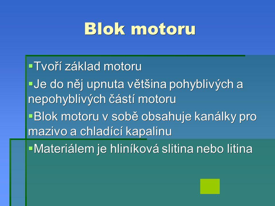 Blok motoru  Tvoří základ motoru  Je do něj upnuta většina pohyblivých a nepohyblivých částí motoru  Blok motoru v sobě obsahuje kanálky pro mazivo a chladící kapalinu  Materiálem je hliníková slitina nebo litina