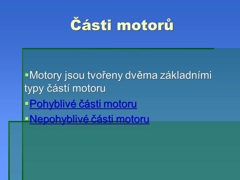 Části motorů  Motory jsou tvořeny dvěma základními typy částí motoru  Pohyblivé části motoru Pohyblivé části motoru Pohyblivé části motoru  Nepohyblivé části motoru Nepohyblivé části motoru Nepohyblivé části motoru
