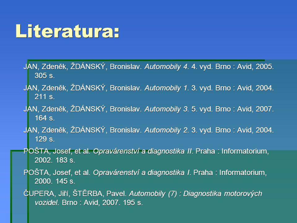 Literatura: JAN, Zdeněk, ŽDÁNSKÝ, Bronislav. Automobily 4.