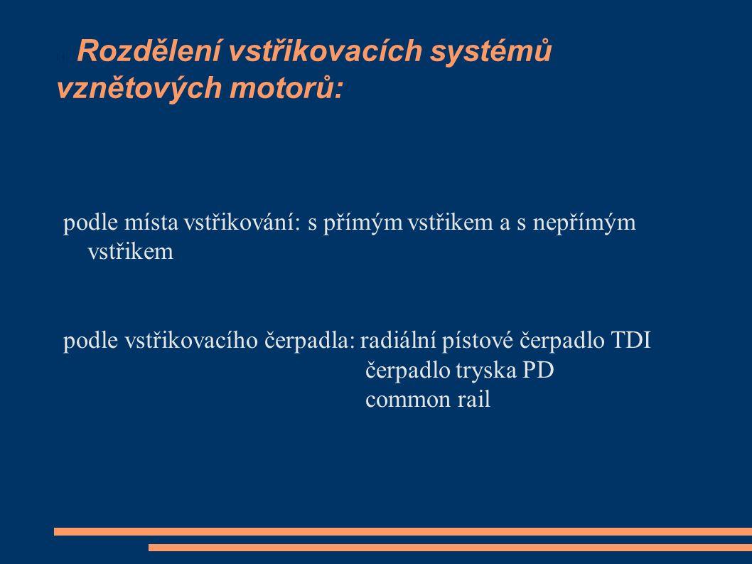 Rozdělení vstřikovacích systémů vznětových motorů: podle místa vstřikování: s přímým vstřikem a s nepřímým vstřikem podle vstřikovacího čerpadla: radiální pístové čerpadlo TDI čerpadlo tryska PD common rail