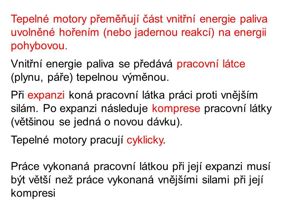 Tepelné motory přeměňují část vnitřní energie paliva uvolněné hořením (nebo jadernou reakcí) na energii pohybovou.