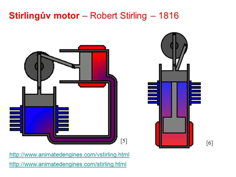 Stirlingův motor – Robert Stirling – 1816 http://www.animatedengines.com/vstirling.html http://www.animatedengines.com/stirling.html [5] [6]