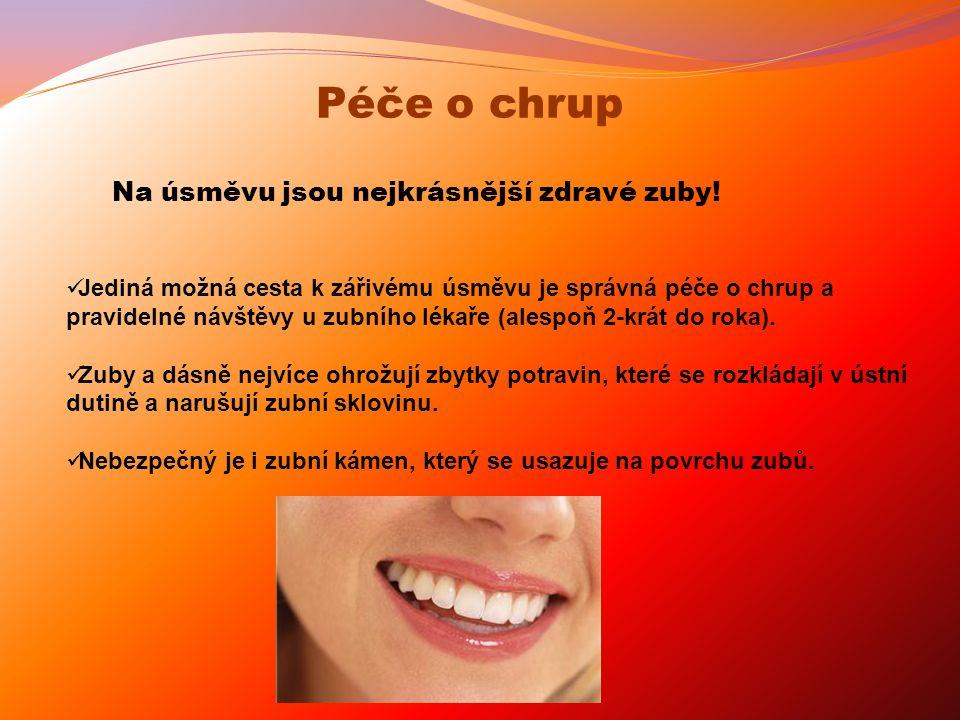 Jediná možná cesta k zářivému úsměvu je správná péče o chrup a pravidelné návštěvy u zubního lékaře (alespoň 2-krát do roka). Zuby a dásně nejvíce ohr