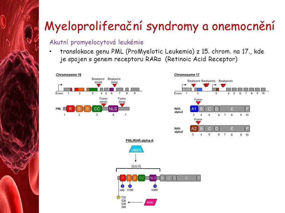 Myeloproliferační syndromy a onemocnění Akutní promyelocytová leukémie translokace genu PML (ProMyelotic Leukemia) z 15.