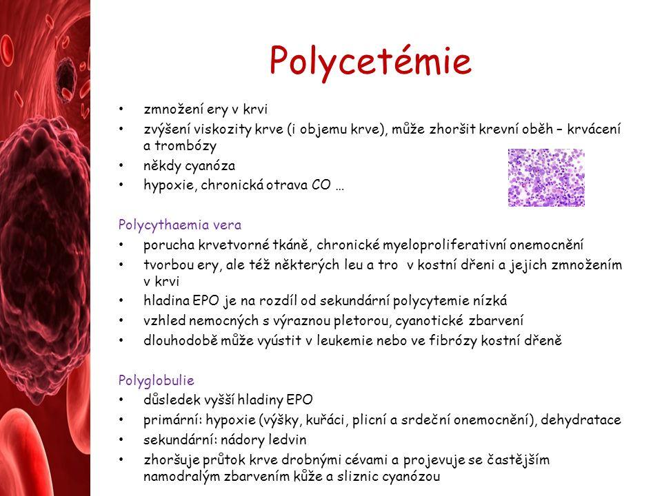 Polycetémie zmnožení ery v krvi zvýšení viskozity krve (i objemu krve), může zhoršit krevní oběh – krvácení a trombózy někdy cyanóza hypoxie, chronická otrava CO … Polycythaemia vera porucha krvetvorné tkáně, chronické myeloproliferativní onemocnění tvorbou ery, ale též některých leu a tro v kostní dřeni a jejich zmnožením v krvi hladina EPO je na rozdíl od sekundární polycytemie nízká vzhled nemocných s výraznou pletorou, cyanotické zbarvení dlouhodobě může vyústit v leukemie nebo ve fibrózy kostní dřeně Polyglobulie důsledek vyšší hladiny EPO primární: hypoxie (výšky, kuřáci, plicní a srdeční onemocnění), dehydratace sekundární: nádory ledvin zhoršuje průtok krve drobnými cévami a projevuje se častějším namodralým zbarvením kůže a sliznic cyanózou