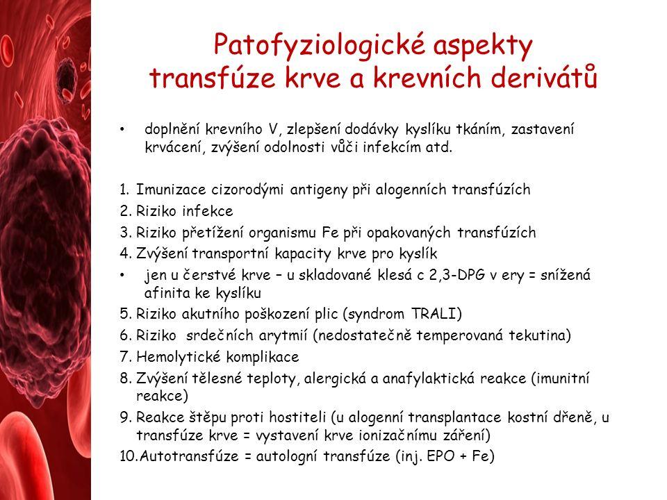 Patofyziologické aspekty transfúze krve a krevních derivátů doplnění krevního V, zlepšení dodávky kyslíku tkáním, zastavení krvácení, zvýšení odolnosti vůči infekcím atd.
