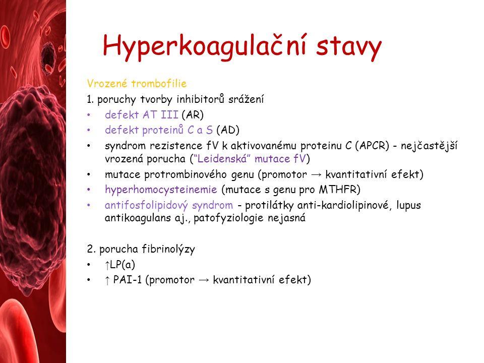 Hyperkoagulační stavy Vrozené trombofilie 1.
