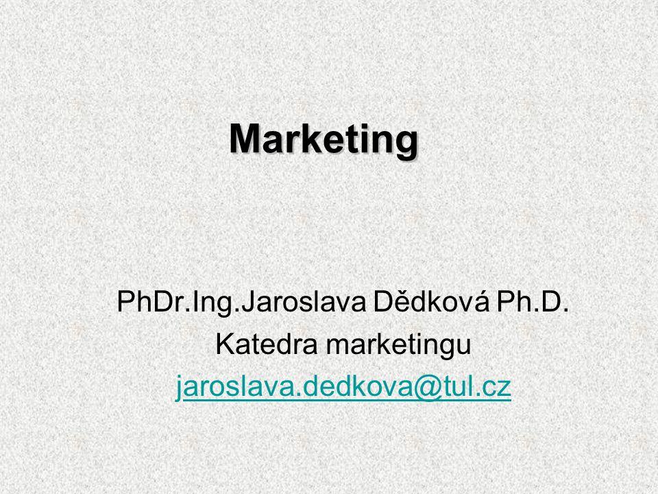 Marketing PhDr.Ing.Jaroslava Dědková Ph.D. Katedra marketingu jaroslava.dedkova@tul.czaroslava.dedkova@tul.cz