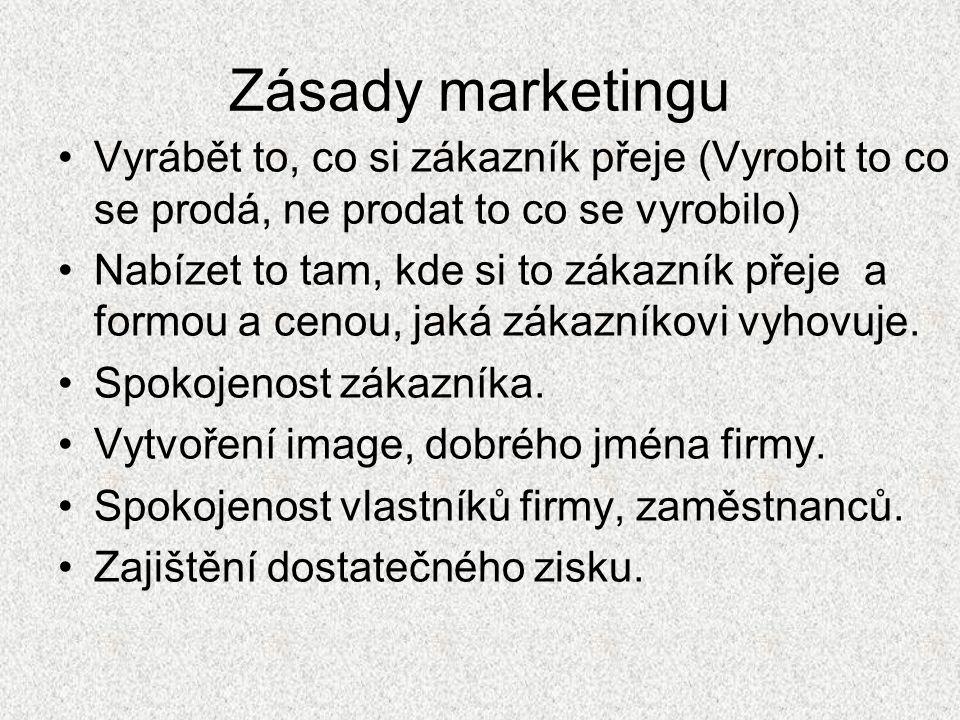 Zásady marketingu Vyrábět to, co si zákazník přeje (Vyrobit to co se prodá, ne prodat to co se vyrobilo) Nabízet to tam, kde si to zákazník přeje a formou a cenou, jaká zákazníkovi vyhovuje.